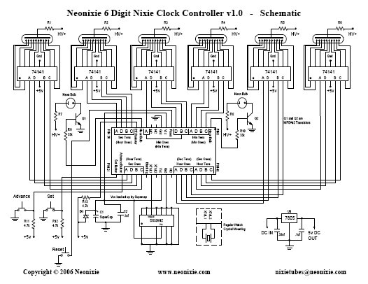 neonixie 6 digit controller using dm8880 decoder drivers and b7971 rh groups io nixie tube circuit diagram
